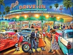 American Drive-In Jigsaw Puzzle, 1000 pc., by White Mountain Puzzles, #1450PZ